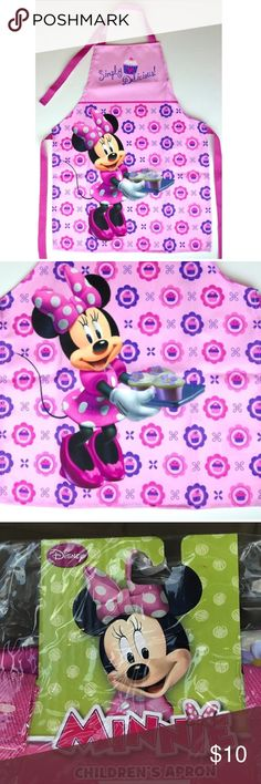 🆕Children's Apron Brand New Minnie Mouse simply Delicious cupcake Baker Childrens apron Disney Accessories