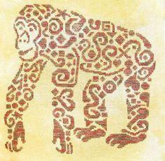 Tribal Chimpanzee - Cross Stitch Pattern