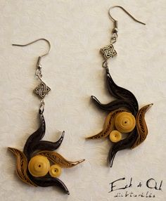 Recycled paper quilled brown dangle earrings