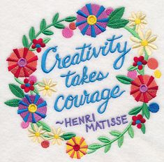 Creativity Takes Courage Wreath design (M6053) from www.Emblibrary.com