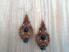 Micro macrame earrings with Smoky Quartz,Carnelian and small metal beads.