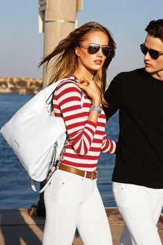 White jeans with red and white striped shirt.