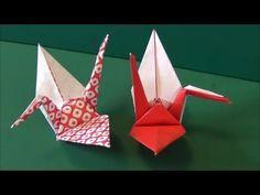 """「紅白鶴1」折り紙""""Red and white crane1""""origami"""