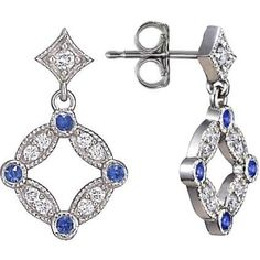 18K White Gold Tiara Diamond and Sapphire Stud Earrings from #BrilliantEarth