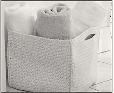 Spa-style crochet basket. Free pattern.  Also washcloth, facecloth and spa slippers.