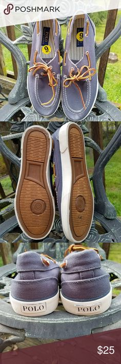 Men's Polo Sander Boat Deck Shoes Size 9D Men's Polo sander boat deck shoes size 9D. New without tags or box. My eyes cannot tell if they are blue or grey. Polo by Ralph Lauren Shoes Boat Shoes