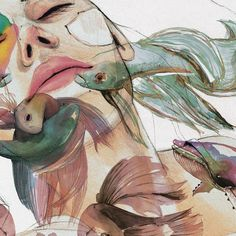 Zoom🌊🌊🌊🌊🌊 #art #arte #illustration #ilustracion #watercolor #acuarela #fashionart #fashionillustration #artsgallery #bettasplendens #whale #ballena #drawing #dibujoalapiz #fish #horrorvacui #graphite #peces