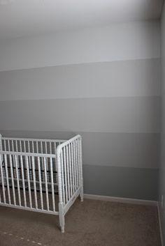 Ideas for bedroom paint ideas accent wall coral cribs Gray Striped Walls, Grey Walls, Ombre Walls, Bedroom Green, Bedroom Wall, Big Girl Rooms, Deco Design, Trendy Bedroom, Room Inspiration