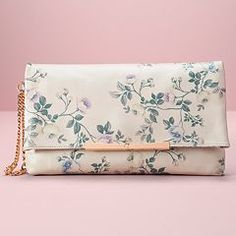 LC Lauren Conrad Runway Collection Leather Floral Clutch