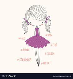 Vector nursery illustration - Buy this stock vector and explore similar vectors at Adobe Stock Cartoon Girl Images, Cartoon Girl Drawing, Girl Cartoon, Letras Comic, Princess Illustration, Illustration Kids, Floral Embroidery Patterns, Kawaii Doodles, Cute Animal Drawings