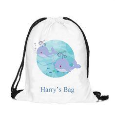 Personalised drawstring bag, kit bag, swimming bag, school bag by cjcprint on Etsy