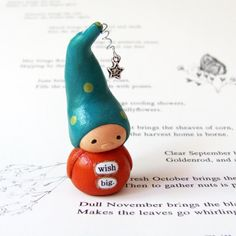 "LOVE!  ""wish big"" wee gnome with wishing star by humbleBea on etsy"