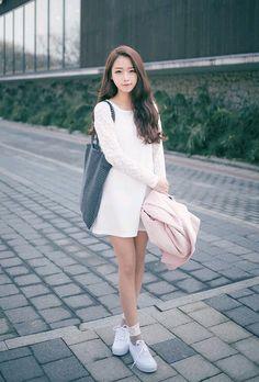White dress & white sneakers