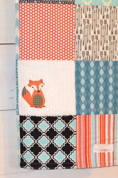 Sly Fox - Large Patchwork Baby Blanket / Quilt You Pick Colors, Fabrics and Theme -  Aqua, Orange, Teal and White Fox via Etsy
