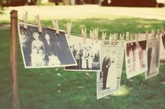 """DIY Vintage Photo Hanging Decor - We adore this sentimental outdoor hanging decor idea that is so vintage! {DIY Tip} Peg old photographs of you, your loved ones and your parent's wedding day on an outdoor """"washing line"""" of twine. Diy Wedding, Dream Wedding, Wedding Photos, Wedding Ideas, Decor Wedding, Wedding Blog, Rustic Wedding, Wedding Planning, Photo Deco"""