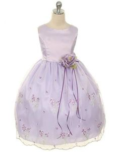 This beautiful dress is made with the shiny satin fabric that will make your daughter glow. Beautifully embroidered floral skirt gives this dress a refined, classic look she'll love showing everyone. Girls Holiday Dresses, Girls Special Occasion Dresses, Girls Party Dress, Girls Dresses, Pageant Dresses, Pink Flower Girl Dresses, Lilac Dress, Flower Girls, First Communion Dresses