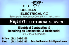 Serving San Marcos for Over 55 Yrs.    Expert ELECTRICAL SERVICE    Electrical Contracting... | Ted Breihan Electric Co. - San Marcos, TX #texas #SanMarcosTX #shoplocal #localTX