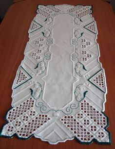 big Hardanger embroidered tablerunner *lily of the valley* NEW 100%handwork