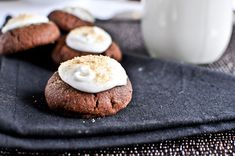 Chocolate Fudge S'mores Thumbprints I How Sweet Eats