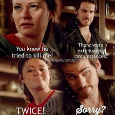 Love that face! lol I'd forgive him... Once Upon a Time - Hook/Belle