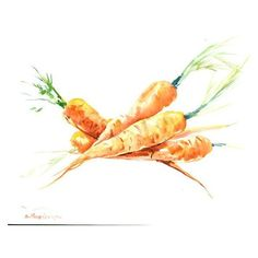 Carrots Painting, 14 x 11 in, vegetables, vegan kitchen wall art,... ❤ liked on Polyvore featuring home, home decor, wall art, water color painting, watercolor painting, orange home accessories, watercolour painting and watercolor wall art