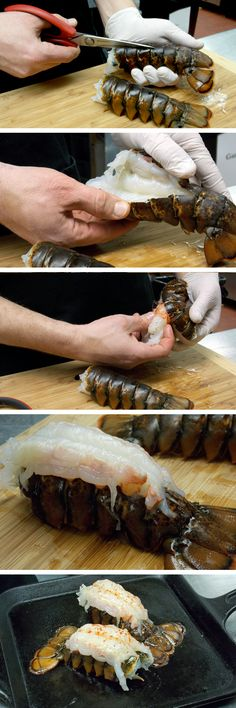 and Turf - classic, elegant, simple Feeling like a little surf and turf? Here's how to make & lobster tail, with step-by-step instructions!Feeling like a little surf and turf? Here's how to make & lobster tail, with step-by-step instructions! Lobster Recipes, Fish Recipes, Seafood Recipes, Cooking Recipes, Vegetarian Recipes, Surf And Turf, Lobster Tails, Seafood Dinner, Steak And Lobster Dinner