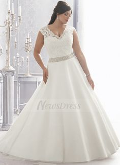 Ball-Gown V-neck Chapel Train Lace Beading Organza Satin Covered Button Cap Straps Sleeveless Church General Plus No Winter Spring Fall Ivory White Wedding Dress