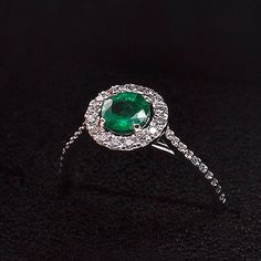 Halo Emerald Engagement Ring / Diamond Promise ring and Natural Emerald / Statement Ring / Cocktail Ring / May Birthstone / Mothers Day Sale by One2ThreeJewelry on Etsy
