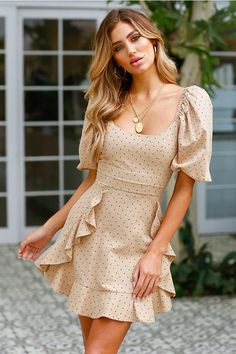 Stylish Vovo Falbala Waisted Short Sleeves Dot Mini Dress Women Falbala Waisted Short Sleeves Dot Mini Dress S Cute Dresses, Short Sleeve Dresses, Summer Dresses, Short Sleeves, Short Casual Dresses, Casual Dresses With Sleeves, Puff Sleeves, Dress Outfits, Cute Outfits