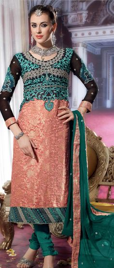 Peach and #Black Viscose #Georgette Churidar Kameez with Dupatta @ $79.95 | Shop @ http://www.utsavfashion.com/store/sarees-large.aspx?icode=ksx157
