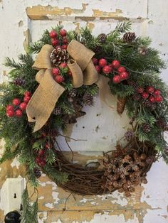 Rustic Christmas Wreath, Holiday Wreath, Christmas Door Decor, Designer Christmas Wreath