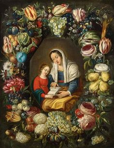 Studio of  Philips de Marlier (1573-1668)   & Studio of  Frans Francken the Younger (1581-1642)  ––  The Madonna and Child Surrounded by a Garland of Different Flowers and Fruits  (580x750)