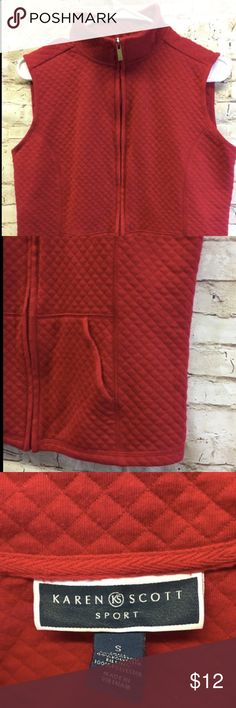 "Karen Scott Sport Women's Red Vest Size Small Size Small Shoulder to shoulder: 14"" No tear or rips 2 front pockets Comes from smoke free home! Karen Scott Jackets & Coats Vests"