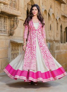 Cream designer anarkali suit with embroidered long jacket E15473