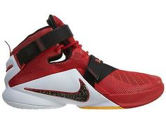 online store 66ccb 453b7 Nike Lebron Soldier IX Mens 749417-606 Red Black White Basketball Shoes  Size 9.5 Zapatillas