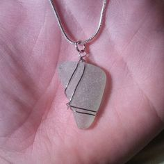 Seafoam Seaglass Necklace by BeachBumsLife on Etsy, $24.00