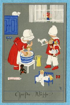 B1455 Meissner Buch Postcard Lia Doring Children Playing with Dolls Bathing   eBay