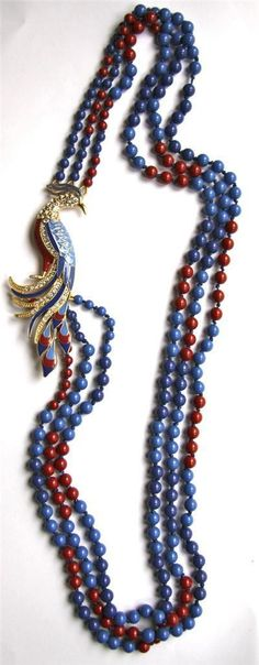 New J Crew Peacock Long Necklace with Crystals Glass Beads in Blue Red Statement | eBay