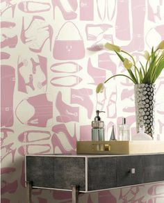Pink Fashionista Wallpaper includes shoes and purses. York's WallpapHER Collection