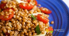 Curried Wheat Berry & Tomato Salad - BrainHQ from Posit Science Brain Healthy Foods, Brain Food, Healthy Nutrition, Healthy Recipes, What Is Dementia, Acv, Tomato Salad, Fresh Lemon Juice, Southeast Asia