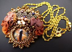Bead embroidered Pendant necklace DRAGON EYE by MaewaDesign