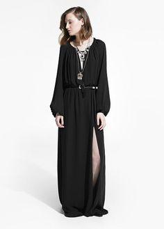 Vestido comprido cinto | MANGO