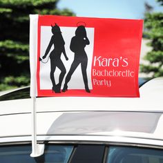 Let everyone know you are up to no good at your bachelorette party with these devilish car flags! www.tradingvows.com