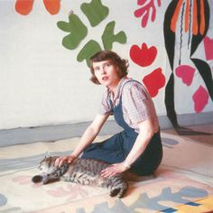 12-Studio assistant Annelies Nelck with tracing of Apollo on the floor of the Hôtel Régina, Nice, c. 1953