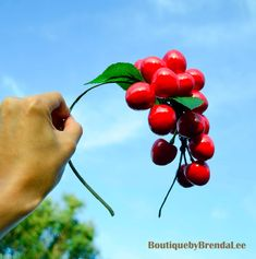 Red cherries headband - Great example of how to attach cherries