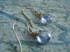 Blue Mystic Quartz Gold Earrings 14K Gold by KottageKreations, $28.00