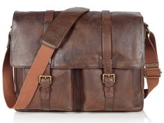 Belstaff Chocolate Leather Classic Messenger Bag