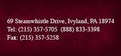 69 Steamwhistle Drive, Ivyland PA 18974 Tel: (215) 357 5705 Fax: (215) 357 5258 Toll Free #: 1 (888) 833 3398