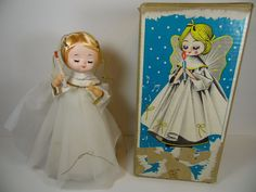 VINTAGE 1960s CHRISTMAS ANGEL DOLL TOY MUSIC BOX IN ORIGINAL BOX JAPAN JAPANESE