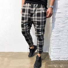 Vintage Plaid Print Paneled Side Pockets Pants – maxgonia Latest Fashion Clothes, Fashion Pants, Mens Fashion, Fashion Outfits, Harem Pants Men, Trousers, Men's Pants, Skinny Pants, Sport Casual